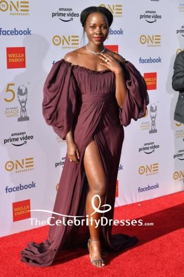 Lupita Nyong'o Off-the-Shoulder High Slit Formal Dress 2019 NAACP Image Awards