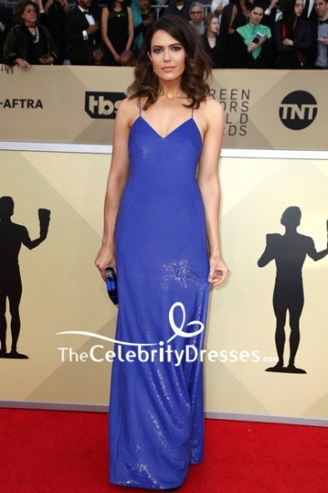Mandy Moore Royal Blue Spaghetti Strap Sequin Evening Dress 2018 SAG Awards Red Carpet Gown