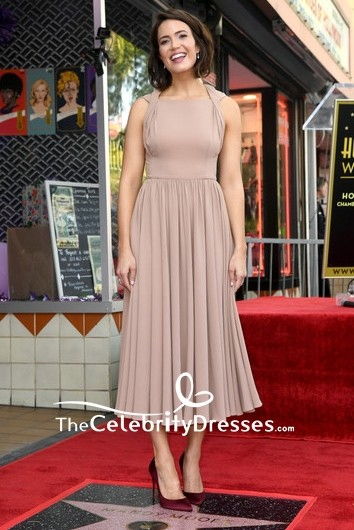 Mandy Moore Halter Chiffon A-line Formal Midi Dress during her Hollywood Walk of Fame Ceremony