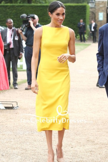 Meghan Markle Bright Yellow Midi Cocktail Dress Your Commonwealth Youth Challenge reception