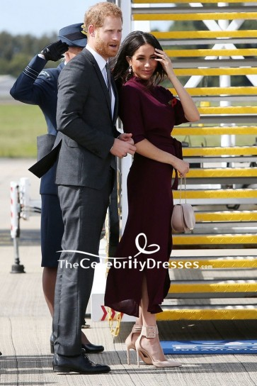 Meghan Markle Burgundy Midi Dress With Short Sleeves Sydney Airport