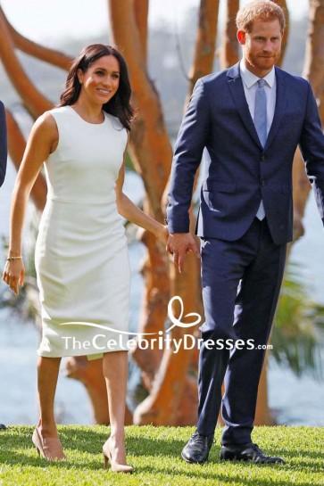 Meghan Markle White Sleeveless Midi Dress Visiting Australia
