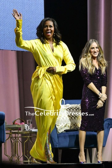 Michelle Obama Yellow V-neck Slip Dress With Sleeves Discussing 'Becoming'