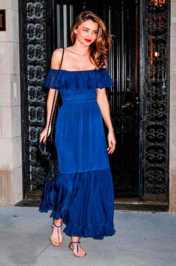 Miranda Kerr ミランダ・カー ブルーロングオフショルダーウエディングイブニングパーティードレス