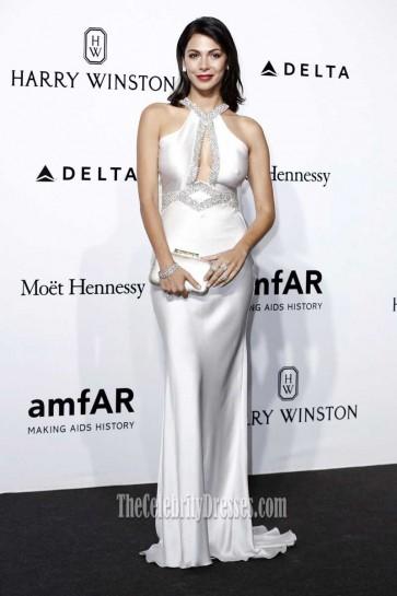 Moran Atias Silver Halter Long Evening Dress AmfAR 2016
