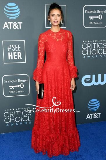 Nina Dobrev Red Lace Evening Dress With Sleeves 2019 Critics' Choice Awards