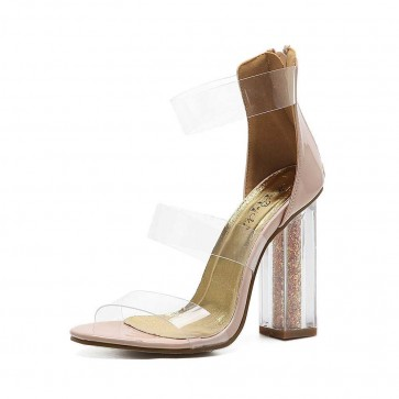 Nude Transparent Open Toe High Chunky Heels Cheap Sandals For Women
