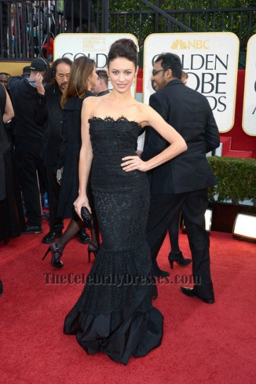 Olga Kurylenko Black Strapless Formal Evening Dress Golden Globe Awards 2013