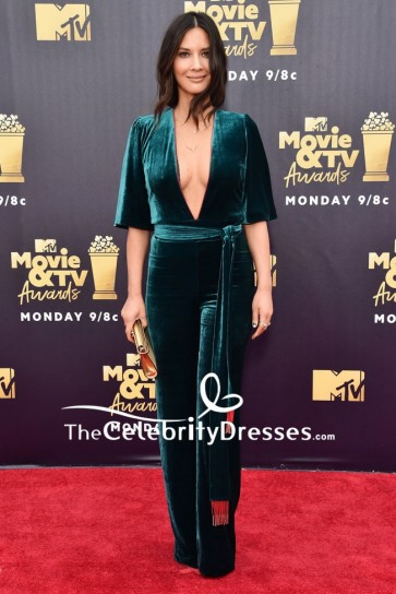 Olivia Munn Plungging Velvet Jumpjuit 2018 MTV Movie & TV Awards Red Carpet