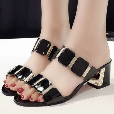 Open Toe Chunky Heel Sandals For Women