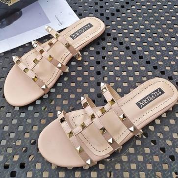 Open Toe Flat Heel Decor With Rivet Sliders