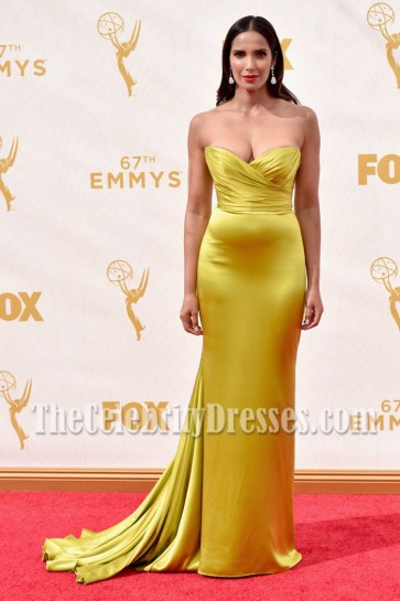 Padma Lakshmi Gold Strapless Evening Prom Gown 2015 Entertainment Weekly Pre-Emmy Party 4