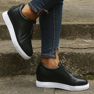 Patent Leather Zipper Decor Flat Sneakers