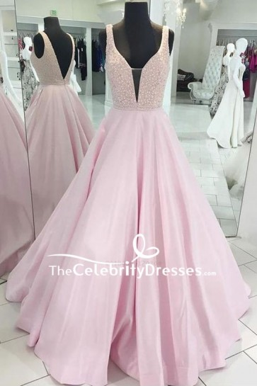 Pearl Pink V-neck Beaded Long Ball Gown