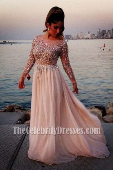 Pearl Pink Beaded Wedding Bridal Dress With Long Sleeves