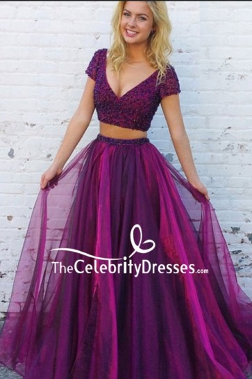 Purple Two Pieces Beaded Cap Sleeves Prom Dress
