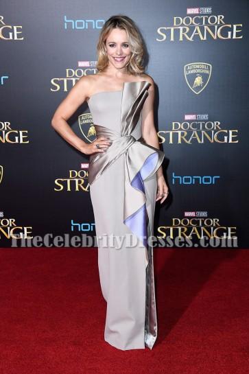 Rachel McAdams Silver Strpless Thigh-high Slit Evening Prom Gown Doctor Strange Premiere 2016 TCD6848