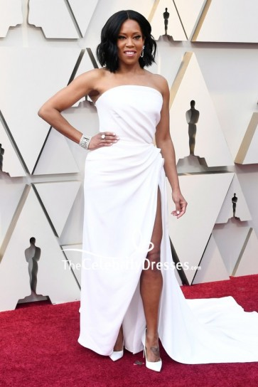 Regina King looked so sexy in a white strapless ruffled gown at the 2019 Oscars Academy Awards red carpet.