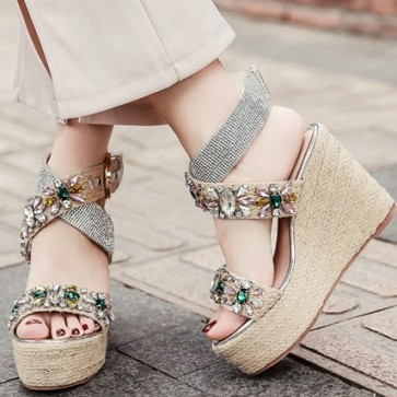 Rhinestone Crystal Wedge Sandals With Buckle