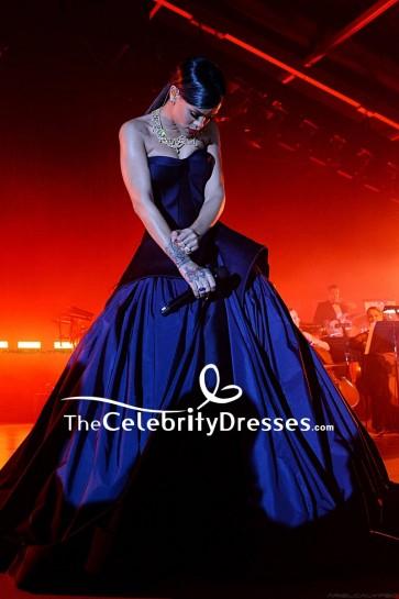 Rihanna Dark Navy Strapless Ball Gown 2014 Diamond Ball