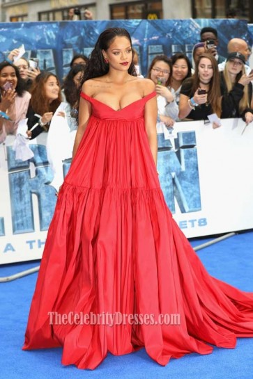 Rihanna Red Off-the-shoulder Empire Evening Ball Gown Premiere of  Valerian and the City of a Thousand Planets