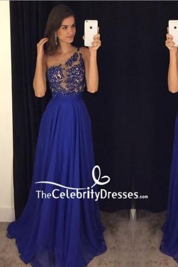Royal Blue One Shoulder Applique Wedding Prom Dress
