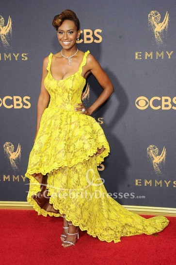 Ryan Michelle Bathe Yellow High Low Lace Evening Dress 2017 Emmy Awards Red Carpet Gown