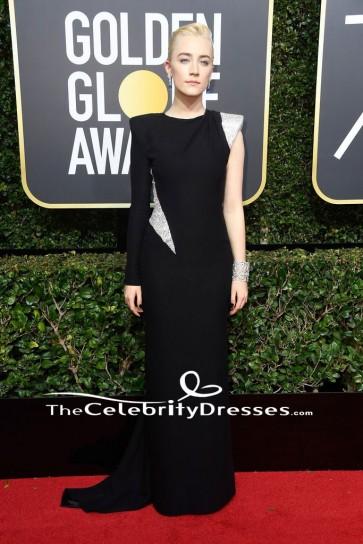 Saoirse Ronan 2018ゴールデングローブ賞ブラックワンスリーブイブニングドレス