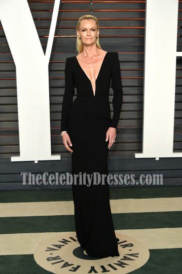 Sarah Murdoch Black Long Sleeves Evening Formal Dress Vanity Fair Oscar After-party 2016 1