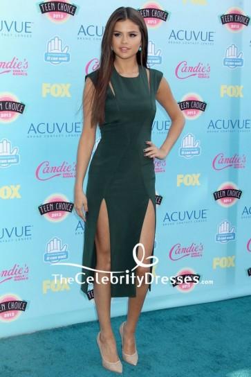Selena Gomez Dark Green Cocktail Dress Teen Choice Awards 2013