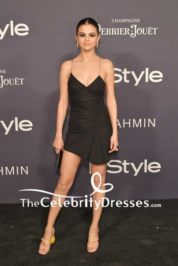 Selena Gomez Sexy Little Black Mini Dress 2017 InStyle Awards