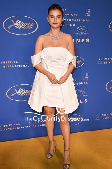 Selena Gomez White Off-the-shoulder Mini Dress 2019 Cannes Film Festival Gala Dinner