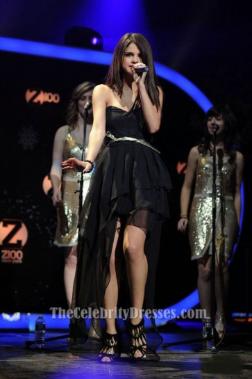 Selena Gomez Black Hi-Low Prom Dress Z100 Jingle Ball 2010