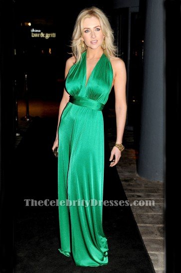 Sexy Floor Length Green Halter Evening Dress Prom Gown