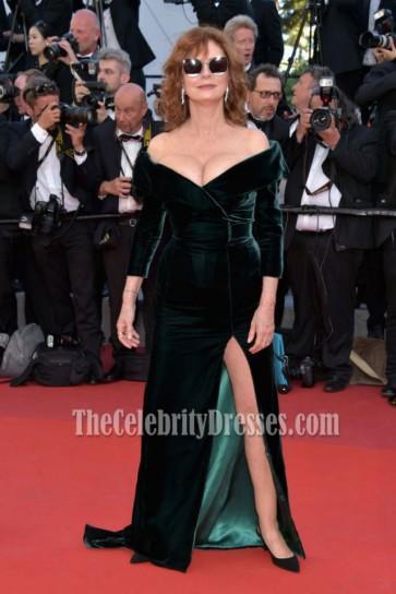 Susan Sarandon Cannes Film Festival Opening Ceremony 2017 Dark Green Off-the-shoulder Slit Evening Dress