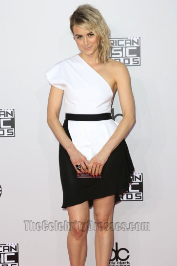 Taylor Schilling White And Black Cocktail Dress 2014 American Music Awards Evening Dress 4