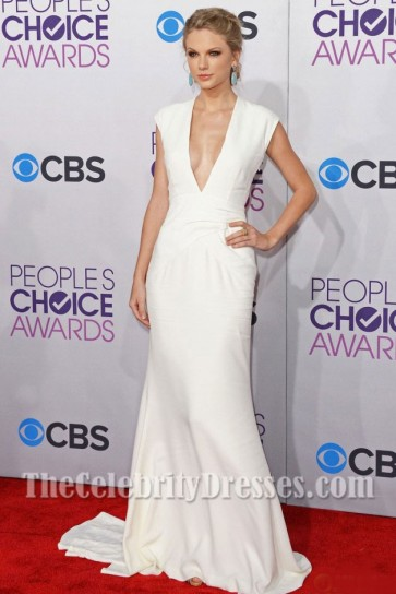 Taylor Swift White V-Neck Prom Dress 2013 People's Choice Awards