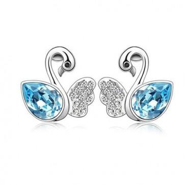 Women Swarovski Element Stud Earrings Swan Lack 1