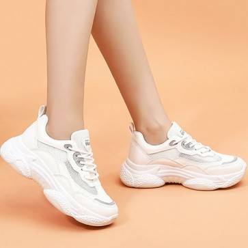 Two-Tone Lace-up Front Chunky Sole Sneakers