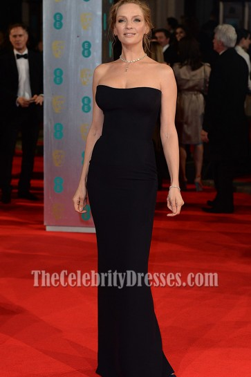 Uma Thurman Black Strapless Evening Prom Gown 2014 BAFTA Awards 2