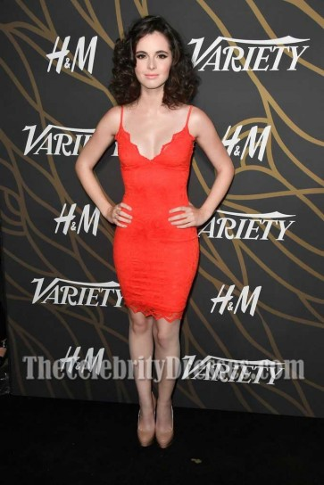 Vanessa Marano Sexy Red Lace Spaghetti Strap Bodycon Short Dress Variety Power of Young Hollywood