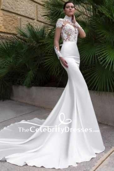 White Lace High Neck See Through Wedding Dress With Long Sleeves Mermaid Bridal Gown For Sale