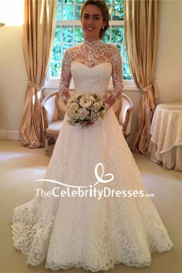White Lace Wedding Dress Bridal Gown With Long Sleeves