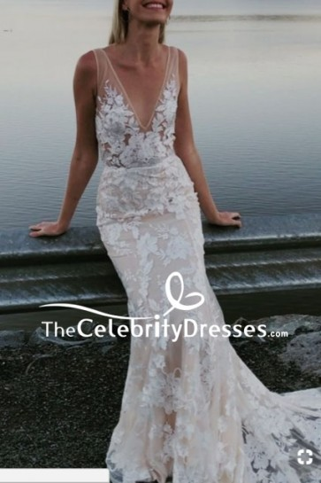 White Mermaid Deep V-neck Wedding Dress