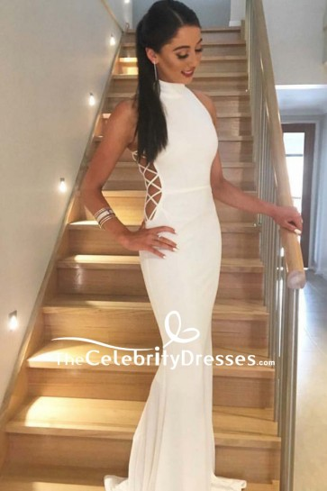 White Mermaid Long Cut Out Prom Dress 2018