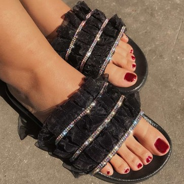 Wide Fit Open-toe Sliders With Colorful Rhinestone