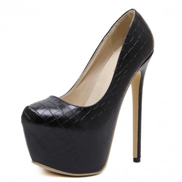 Women's Black Pump Round Toe Stiletto Heels Prom With Platform