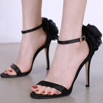 Women's Ankle Strap Stiletto Sandals Heels Slingback With Flower