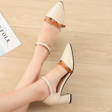 Women's  Chunky Heel Pump Shoes Cap-toe Ankle With Buckle