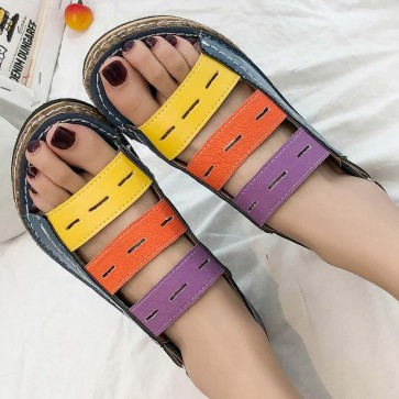 Women's Colorful Band Open-toe Sandals For Casual